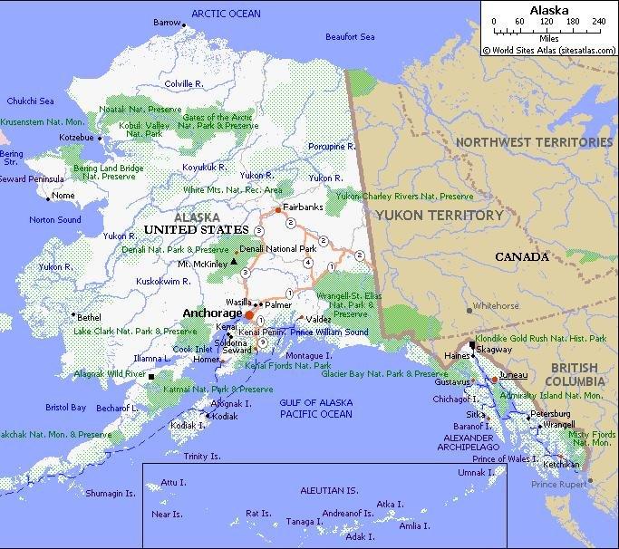 Alaska Pet Friendly Road Map by 1Click