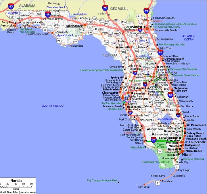 florida map with hotels