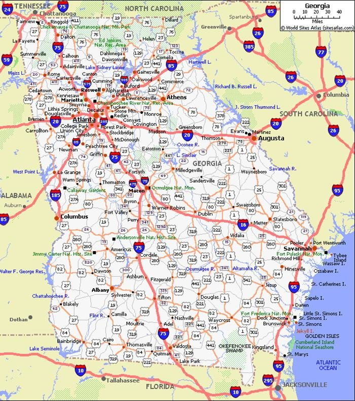 Road Map Of Georgia And Florida.Georgia Pet Friendly Road Map By 1click