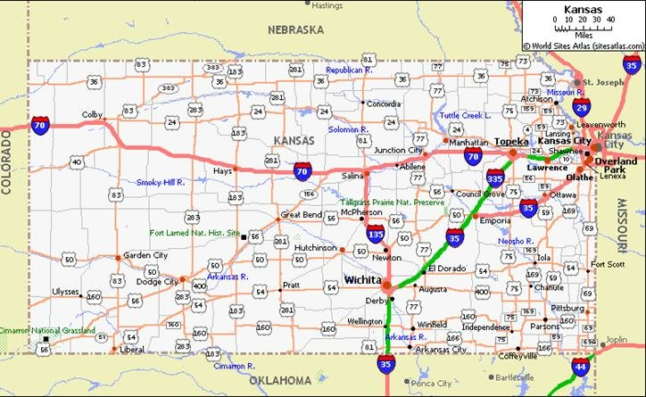 Kansas Pet Friendly Road Map By Click - Kansas world map