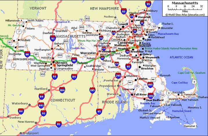 Massachusetts Pet Friendly Road Map by 1Click