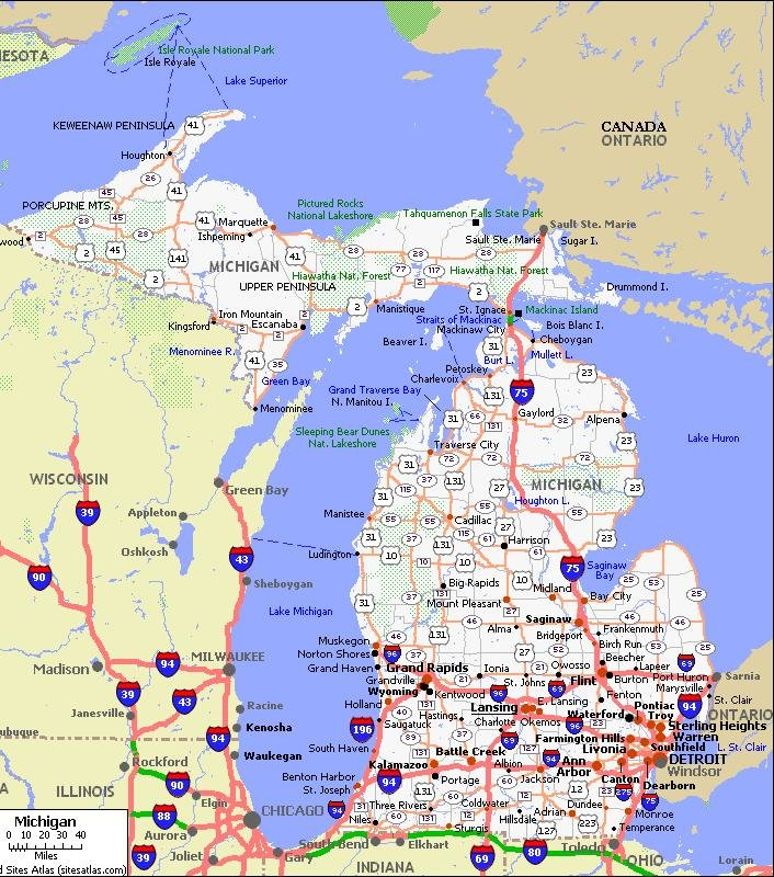Michigan Road Map Michigan Pet Friendly Road Map by 1Click Michigan Road Map