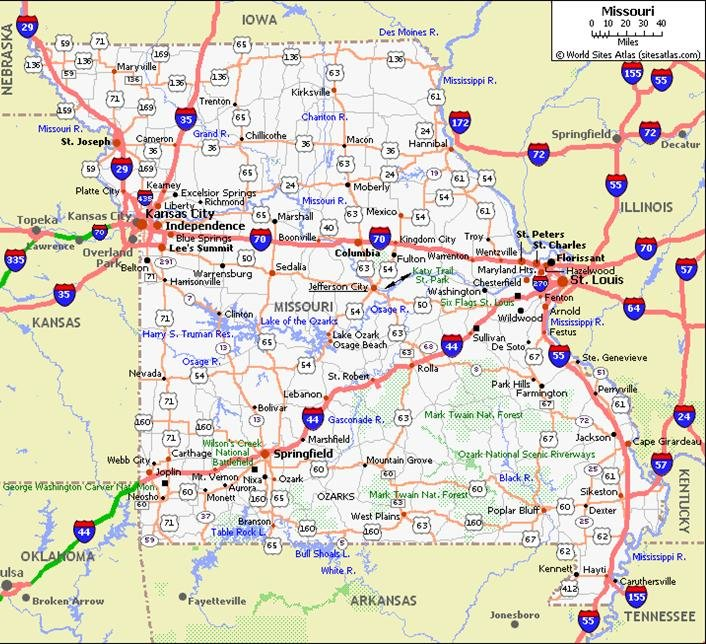 Missouri Pet Friendly Road Map by 1Click