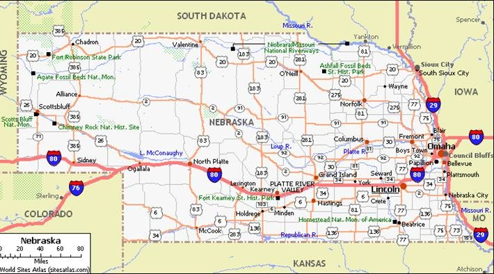 Nebraska Pet Friendly Road Map by 1Click