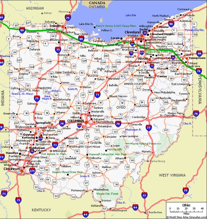 Ohio Road Map Ohio Pet Friendly Road Map by 1Click Ohio Road Map