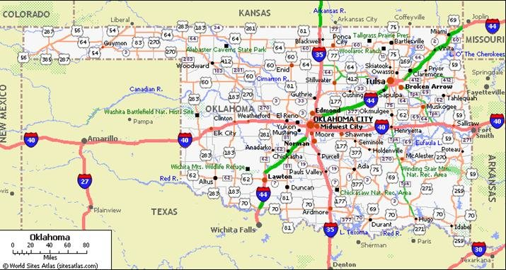 Oklahoma Pet Friendly Road Map by 1Click