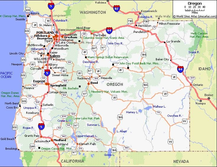 Map of oregon driving