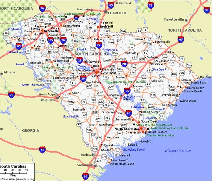South Carolina Pet Friendly Road Map by 1Click