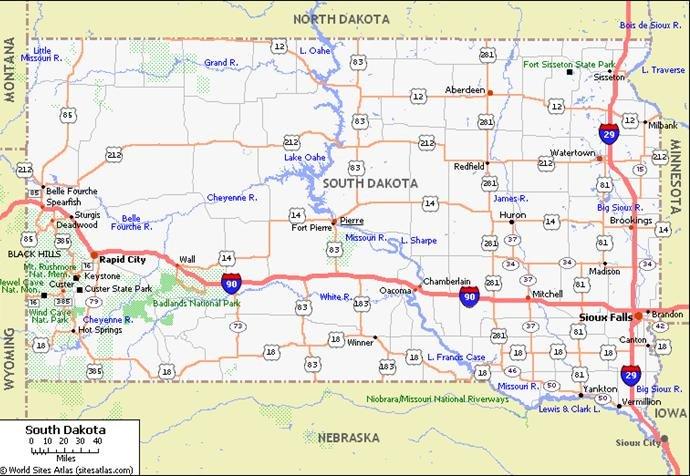 South Dakota Pet Friendly Road Map by 1Click