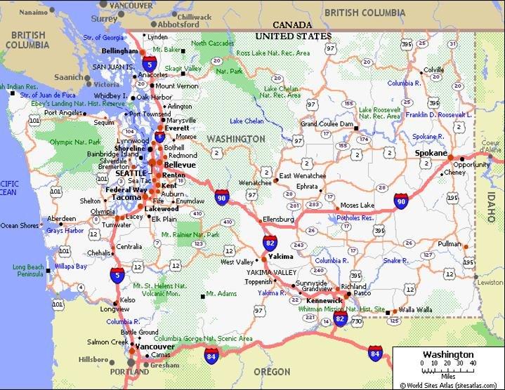 Washington Pet Friendly Road Map by 1Click