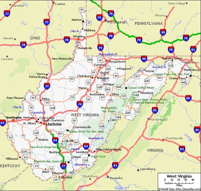 West Virginia Pet Friendly Road Map by 1Click